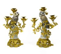 Germany Large pair of owl candelabras, Porcelain, very finely carved gilt bronze fittings decorated