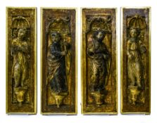 Spain, Castile, late 16th-early 17th century Set of four panels, Finely carved polychrome and gilt