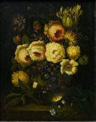 19th century school Still life of a bouquet, Oil on copper, monogrammed 'JB' at lower right. Carved