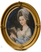 Late 18th century school Portrait of a woman with a quill pen, Oval pastel. Some mildew and