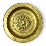 Germany, likely Nuremberg, 17th century Collection plate, Brass embossed with gadroons and a frieze