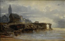 Jean-Baptiste Henri DURAND-BRAGER (1814-1879) Seaside view, 1859, Oil on panel. Signed at lower