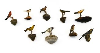 Collection of 9 birds, Painted wood sculptures on natural branches. - - -