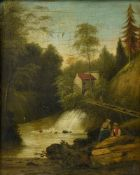 19th century school Swiss landscape with fishermen, Oil on panel. Framed Height (cm) : 33,5 - Width