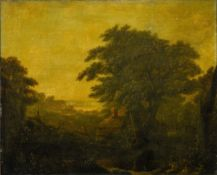 Patrick NASMYTH (1787-1831) (Attributed to) Landscape with a figure, Oil on canvas (re-stretched).