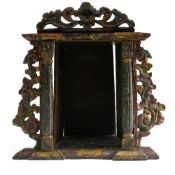 18th century Portuguese work Oratory, Carved wood, adorned with columns and a stylized floral