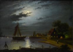 19th century school Animated moonlit landscape, Oil on canvas. Framed Height (cm) : 47,5 - Width (