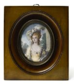 LAWREINCE (?), early 19th century school Portrait of Mrs. Graham, Miniature on ivory, signed '