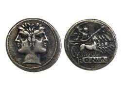 Rome Republic, anonymous, Didrachm, 6.51g, 225-212 B.C., laureate head of Janus, rev. Jupiter in