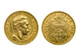 Germany, Prussia Wilhelm II (1888-1918), 20 Mark, 7.95g, 1906 A, Berlin (Fr.3831; KM.521).