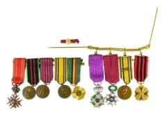 Belgium mixed lot of miniatures, Order of Leopold, Order of the Crown, Croix de guerre, Gold medal
