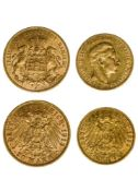 Germany Hamburg, 20 Mark, 1913 J ; Prussia, 10 Mark, 1899 A (Fr.3777, 3835 ; KM.520, 618). 20