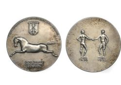 Germany Third Reich, silver medal, 24.84g, 40mm, by Hans Schwegerle, 1936, stamped 990 on edge,