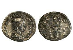 Rome Aquilia Severa (220-221 & 221-222), Denarius, 2.74g, Rome, bust draped right, rev. Concordia