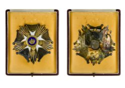 Belgium Order of the Crown, Grand officer's breast badge, signed De Greef. In a case by De Greef,