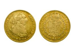 Spain Carlos III (1759-1788), 2 Escudos, 6.64g, 1788 M, Madrid, draped and cuirassed bust right,