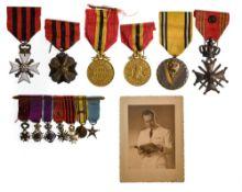 Belgium Group of orders, belonged to Pierre De Greift including Croix de guerre with bronze lion