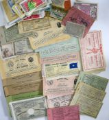 Belgium and Belgian Congo mixed lot of lotery tickets, transports tickets, Colonial lotery tickets