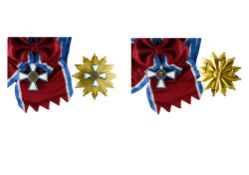 Luxembourg Order of Merit, Grand Cross group, Cross, 52mm and breast star, 84mm. In a case, light