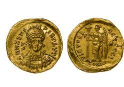 Byzantium Zeno (474-491), Solidus, 4.47g, Constantinople, three-quarter bust, rev. Victory