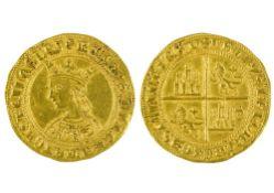 Spain Pedro I (1350-1369), Dobla de 35 Maravedis, 4.55g, Sevilla, crowned bust left, rev. arms of