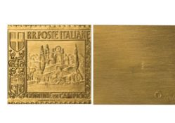 Italy Courvoisier S.A., metallic stamp, 0,10 Fr., 13.22g, 27mm x 33mm, in gold, R.R. POSTE