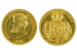 Brazil Pedro II (1831-1889), 10000 Reis, 8.97g, 1856 (Fr.122 ; KM 467). Marks on edge, scratches,
