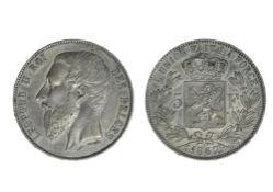 Belgium Leopold II (1865-1909), 5 Francs, 24,99g, 1867, point after F, large bare head left,