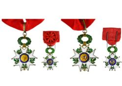 France Legion of honour, Third Republic model, Commander's cross, 83mm and Officer's cross, 58mm. In