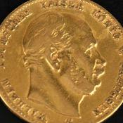 Goldmünze Kaiserreich - Preußen 1872 10 Mark in Gold, 900/1000, 3,58 g, av. Wilhelm Deutscher Kaiser
