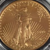 "Goldmünze Amerika 5 Dollars in Gold, 916,66/1000, 3,393 g, av. schreitende Liberty, rv. ""American"