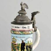 Reservistenkrug Infanterie-Regiment Nr. 133 Zwickau 1902-1904 walzenförmiger Porzellankorpus mit