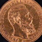 Goldmünze Kaiserreich - Preußen 1888 20 Mark in Gold, 900/1000, 7,96 g, av. Friedrich Deutscher