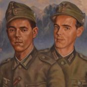 Kirchhübel, A. Öl/Holz, zwei Gebirgsjäger der Wehrmacht vor Alpenpanorama, rechts unten signiert und