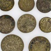 Konvolut historische Silbermünzen insg. 8 versch. Ausgaben, u.a. 1 x 1 Kreuzer 1721 Bayern