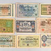 Konvolut Papiergeld insg. wohl an die 90 Stück, dabei: 1 x Million Mark Stadtsparkasse Nürnberg