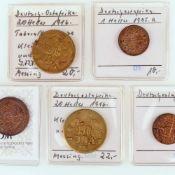 Konvolut Münzen Deutsche Kolonien insg. 5 Münzen Deutsch Ostafrika, dabei: 2 x 20 Heller 1916 (