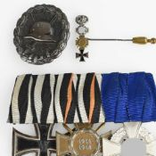 Ordensspange, Miniatur und Verwundetenabzeichen III. Reich 1 x dreiteilige Bandspange: Eisernes
