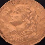 """Goldmünze Schweiz 1922 20 Franken in Gold, 900/1000, 6,45 g, av. Wappen über Eichenlaub, rv. """""""