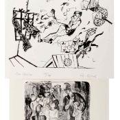 Klaus Neubauer und Uwe Bösch 2 Lithografien, 1 x K. Neubauer (geb. 1944 Chemnitz), Besuch in der