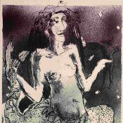 """Böttcher, Brigida (1952 Zwickau - ) Farblithografie, """"Musentier mit Sternschnuppe"""", unten in Blei"""