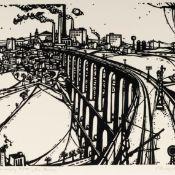 """Rentsch, Lothar (1924 Plauen - 2017 ebd.) Linolschnitt, """"Die Brücke"""", unter dem Druck in Blei"""