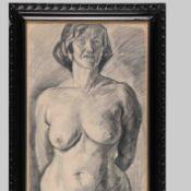 Querner, Curt (1904 Börnchen - 1976 Kreischa) Bleistiftzeichnung, stehender weiblicher Akt in