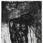 """Morgner, Michael (1942 Chemnitz - tätig ebd.) Prägedruck und Aquatinta auf Bütten, """"Tod im Bauch"""","""