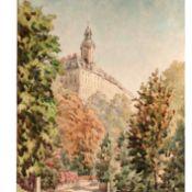 Neumann, Herbert Aquarell, sommerlicher Weg mit Blick zur Heidecksburg (Rudolstadt), unten