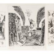 """Hofmann, Günter (1944 Hainichen - 2008 ebd.) 3 Radierungen auf Bütten, 1 x zu Gellert """"Der Tod der"""
