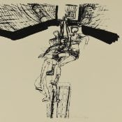 Schnürpel, Peter (1941 Leipzig - tätig in Altenburg) Lithografie, Basketballspielende, unter der