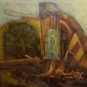 """Unbekannter Künstler Öl/Lwd., betitelt """"Abstraktion Opus No. 5"""", rechts unten signiert """"P. Sz."""""""