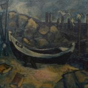 Rückert, B. Öl/Hartfaser, Fischerboot am Strand, links unten signiert, gerahmt, geringe