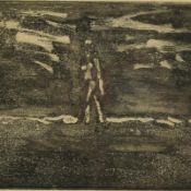 Vent, Hans (1934 Weimar - 2018 Berlin) Aquatintaradierung, Person vor Landschaft, rechts unten